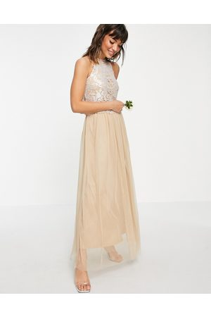 VILA Damen Lange Kleider - Bridal halterneck dress with sequin body and tulle skirt in champagne