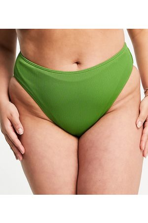Simply Be Mix and match textured bikini brief in green