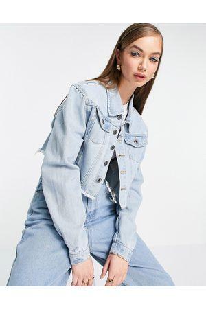 FAE Boxy cropped oversized denim jacket with raw hem in light stone wash-Blue