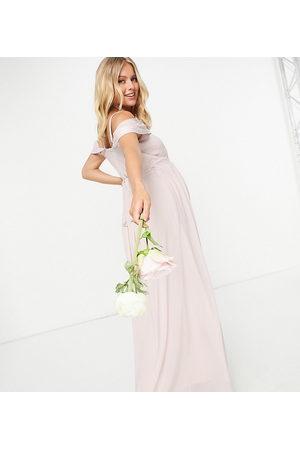 TFNC Damen Asymmetrische Kleider - Bridesmaid drape shoulder asymmetric maxi dress in mink-Pink