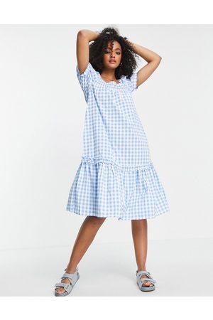 QED London Square neck midi smock dress in blue gingham