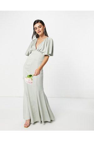 ASOS Bridesmaid drape back satin maxi dress with button back detail-Green