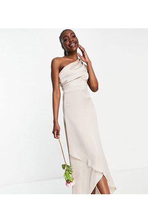 TFNC Bridesmaid one shoulder maxi dress in mink-Pink