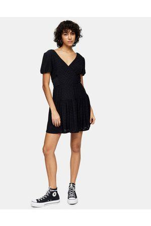 Topshop Broderie wrap dress in black