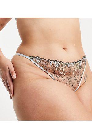 ASOS Damen Strings - ASOS DESIGN Curve Billie pastel embroidery thong in multi