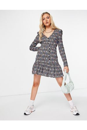 ASOS Button through long sleeve tea dress with frill hem in blue and pink floral
