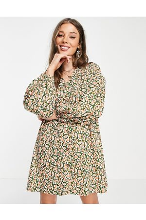 ASOS Button through mini smock dress with long sleeves in green and pink floral