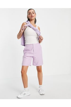 Urban Threads Longline tailored shorts co-ord in lilac-Purple