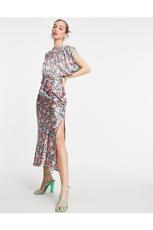 ASOS Satin midi tea dress with puff sleeves and belt in floral print-Multi