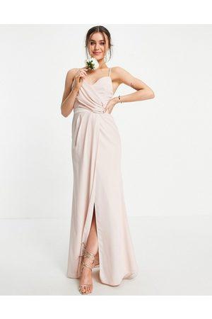 ASOS Bridesmaid drape cami maxi dress with wrap waist in blush-Pink