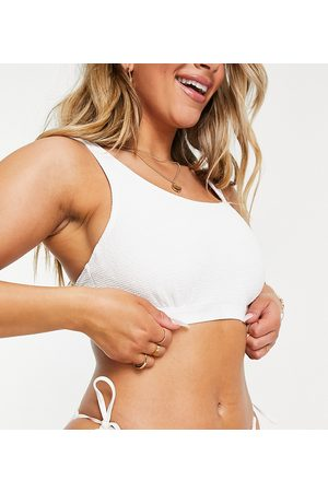 Ivory Rose Fuller Bust mix and match scrunch underwired crop bikini top in white