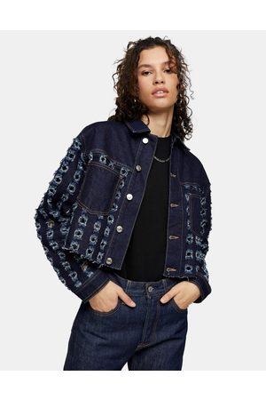 Topshop Cut out crop denim jacket in indigo-Black