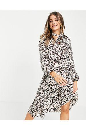 Lola May Tie neck midi smock dress in leopard print-Multi