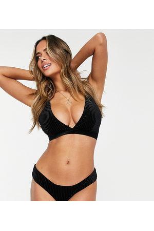 Wolf & Whistle Fuller Bust Exclusive triangle bikini top in black velvet