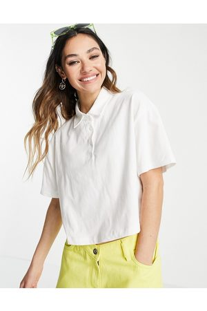 ASOS Cropped boxy polo with short sleeve in white