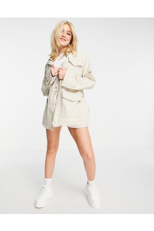 ASOS Slouchy four pocket linen jacket in natural-White