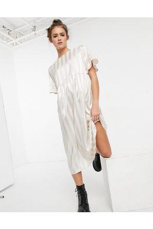 Lola May Long smock dress in cream satin stripe-White