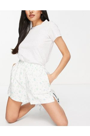 ASOS Mix and match cotton poplin ditsy boxer short in white ditsy print-Pink
