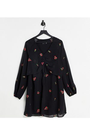 ASOS ASOS DESIGN Maternity nursing ruched front balloon sleeve mini dress with all over embroidery in black