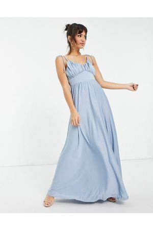 ASOS Spaghetti strap ruched bust maxi dress in mid blue