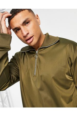 ASOS Oversized sweatshirt with 1/4 zip in poly-tricot-Green
