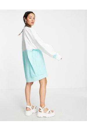 Weekday Liza midi sweat dress in blue tie dye print-Multi