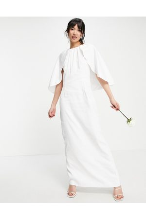 Y.A.S Bridal maxi dress with cape detail in white