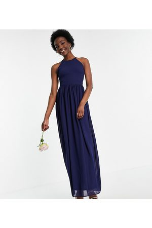 TFNC Bridesmaid high neck pleated maxi dress in navy