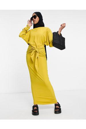 ASOS Damen Lange Kleider - Maxi dress with gathered cuff and tie front detail