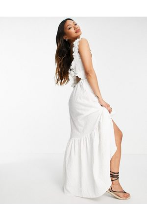 ASOS Tie back maxi dress with pephem in texture in white