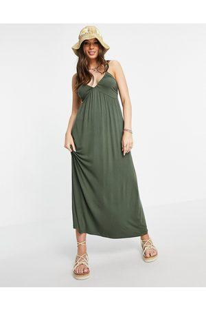 ASOS Cupped detail maxi dress in khaki-Green