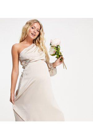 TFNC Damen Asymmetrische Kleider - Bridesmaid satin one shoulder long sleeve maxi dress in mink-Pink
