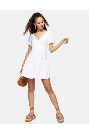 Topshop Broderie wrap dress in white