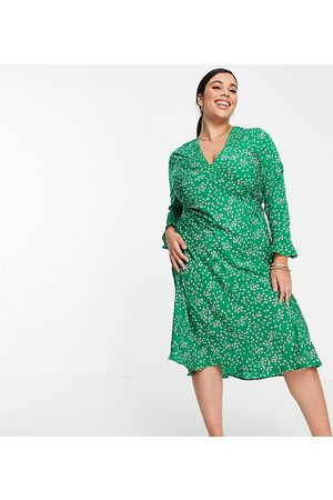 Wednesday's Girl Midi tea dress in ditsy floral-Green