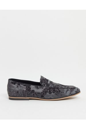 ASOS Loafers in grey velvet floral design with snaffle