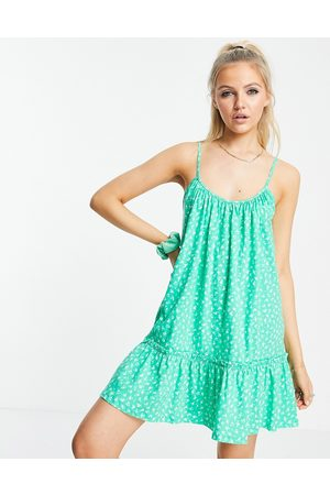 ASOS Strappy gathered neck mini dress with pep hem in green floral