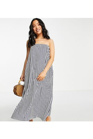 ASOS Petite bandeau maxi sundress with pockets in navy and white stripe