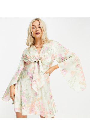 ASOS ASOS DESIGN Petite cape sleeve satin mini dress with knot front in floral print-Multi