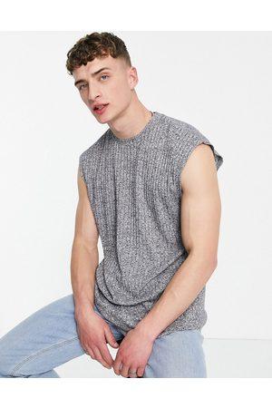 ASOS Oversized vest in interest grey marl rib