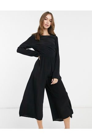 ASOS Long sleeve button back tea jumpsuit in black