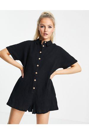ASOS Button through shirt romper in black