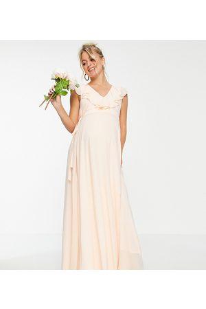 TFNC Bridesmaids maxi wrap dress in ecru-White