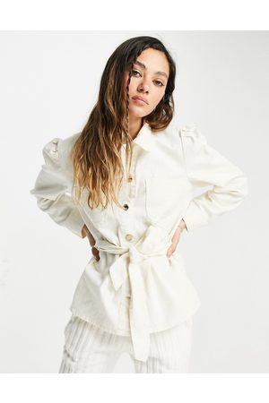 ONLY Denim shacket with tie waist in ecru-White