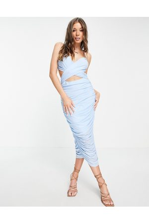 Love Triangle Ruched midi dress with cross front and tie up back detail in pale blue