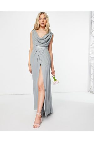 ASOS Bridesmaid cowl front maxi dress with button back detail in olive-Green