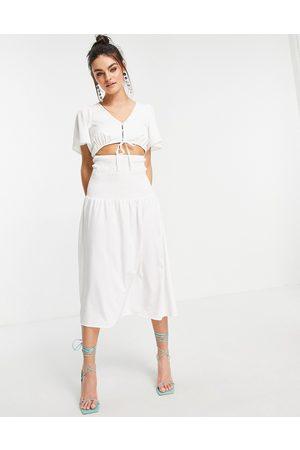 Fashion Union Midi drop waist dress in white