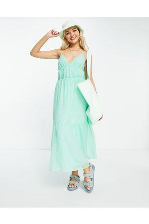 Pimkie Damen Freizeitkleider - V neck strappy maxi smock dress in green