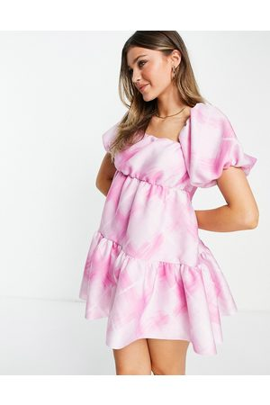 ASOS Asymmetric ruched smock mini dress in pink oversized check-Multi