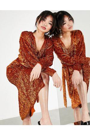 ASOS Sequin wrap midi dress