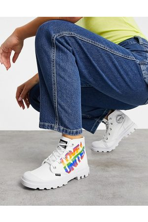 Palladium Pampa Pride lace up ankle boots in white